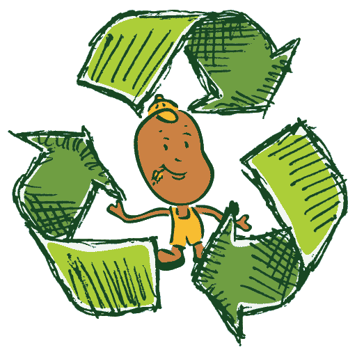 recycling symbol with Routey the potato guy