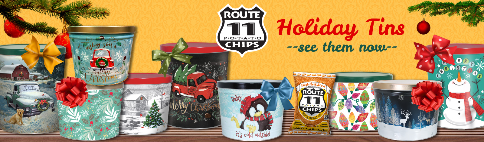 holiday tins of Route 11 Potato Chips