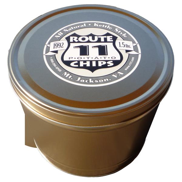 1.5LB Gold Tin of Salt N Vinegar Chips