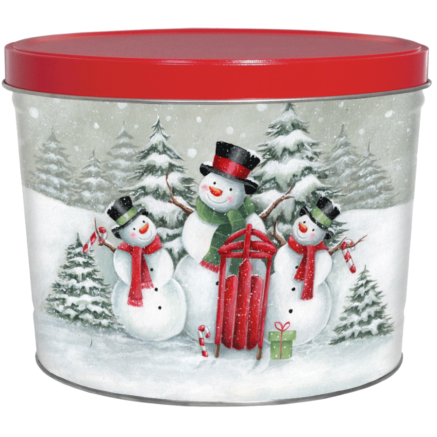 1.5 LB Top Hat Snow Family Tin with Mama Zuma's Chips