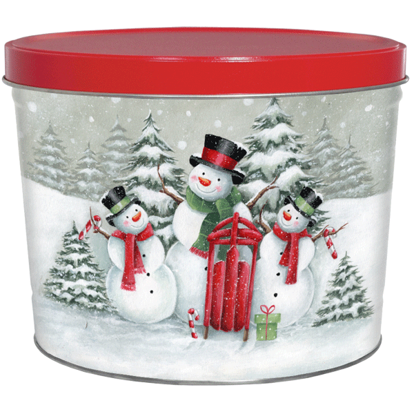 1.5 LB Top Hat Snow Family Tin with Sweet Potato Chips