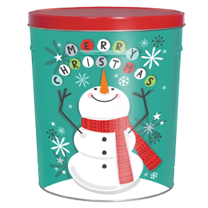 3LB Scarf Snowman Tin with Sour Cream and Chive Chips