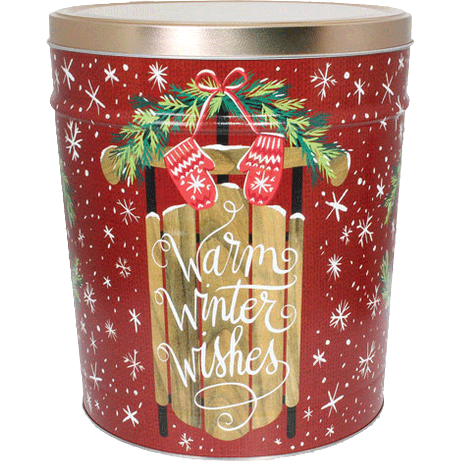 3 LB Winter Wishes Tin of Sour Cream N Chive Potato Chips