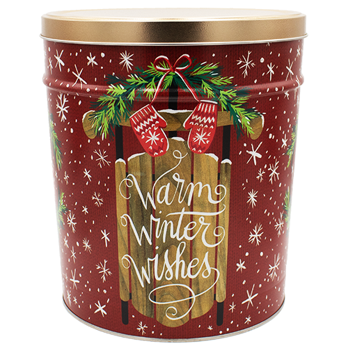 3 LB Winter Wishes Tin of Salt & Pepper Chips