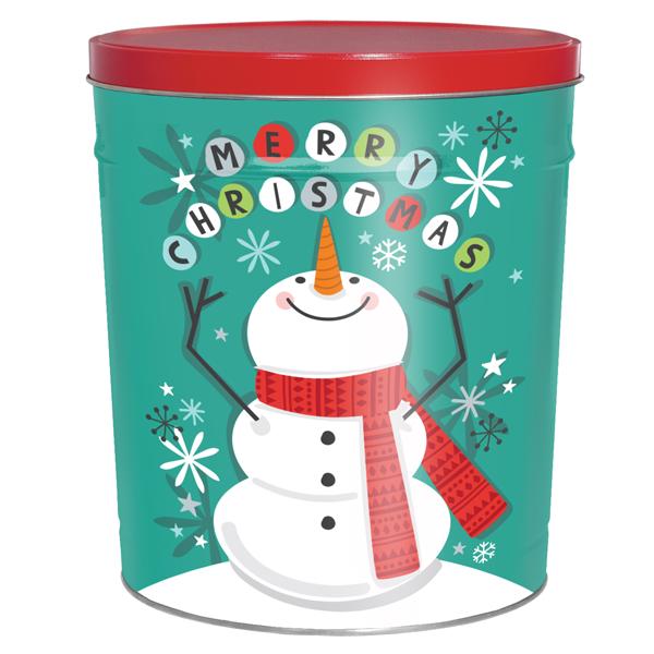 3LB Scarf Snowman Tin with Salt & Pepper Chips