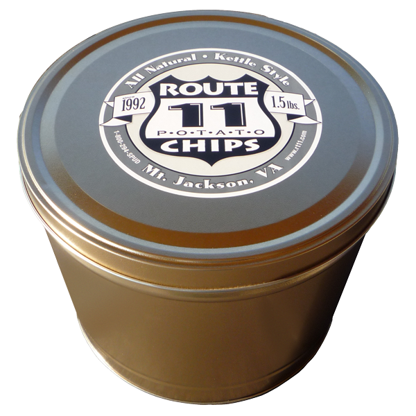 1.5LB Gold tin of Sweet Potato Chips with Cinnamon and Sugar