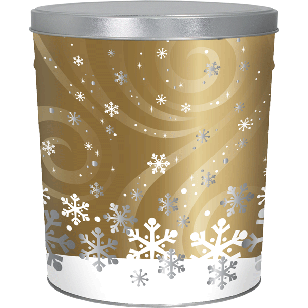 3 LB Swirling Snow Tin with Lightly Salted Chips