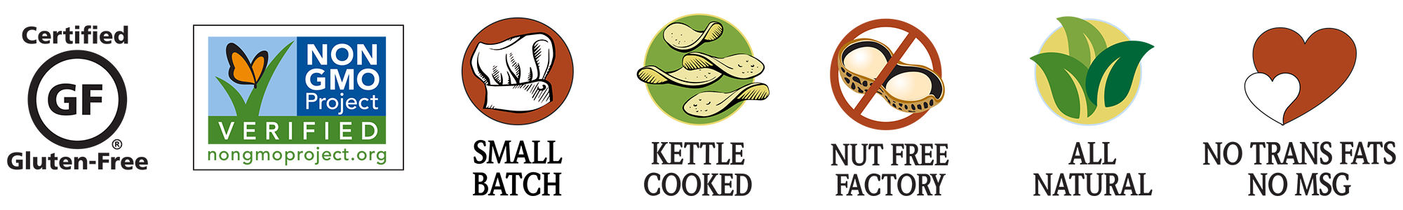 certified gluten free, non-GMO verified, small batch, kettle cooked, nut free factory (peanuts and tree nuts), all natural, no trans fats, no MSG
