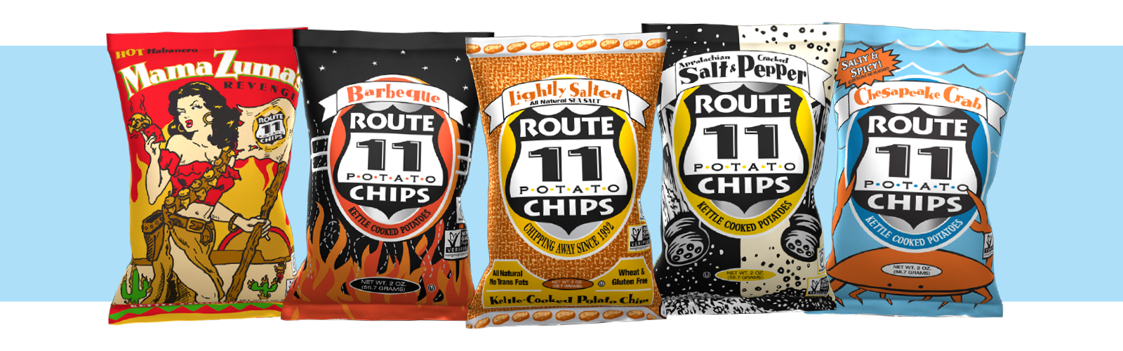 the vegan flavors of Route 11 Chips