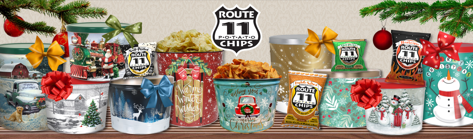 a selection of holiday gift tins filled with Route 11 Chips