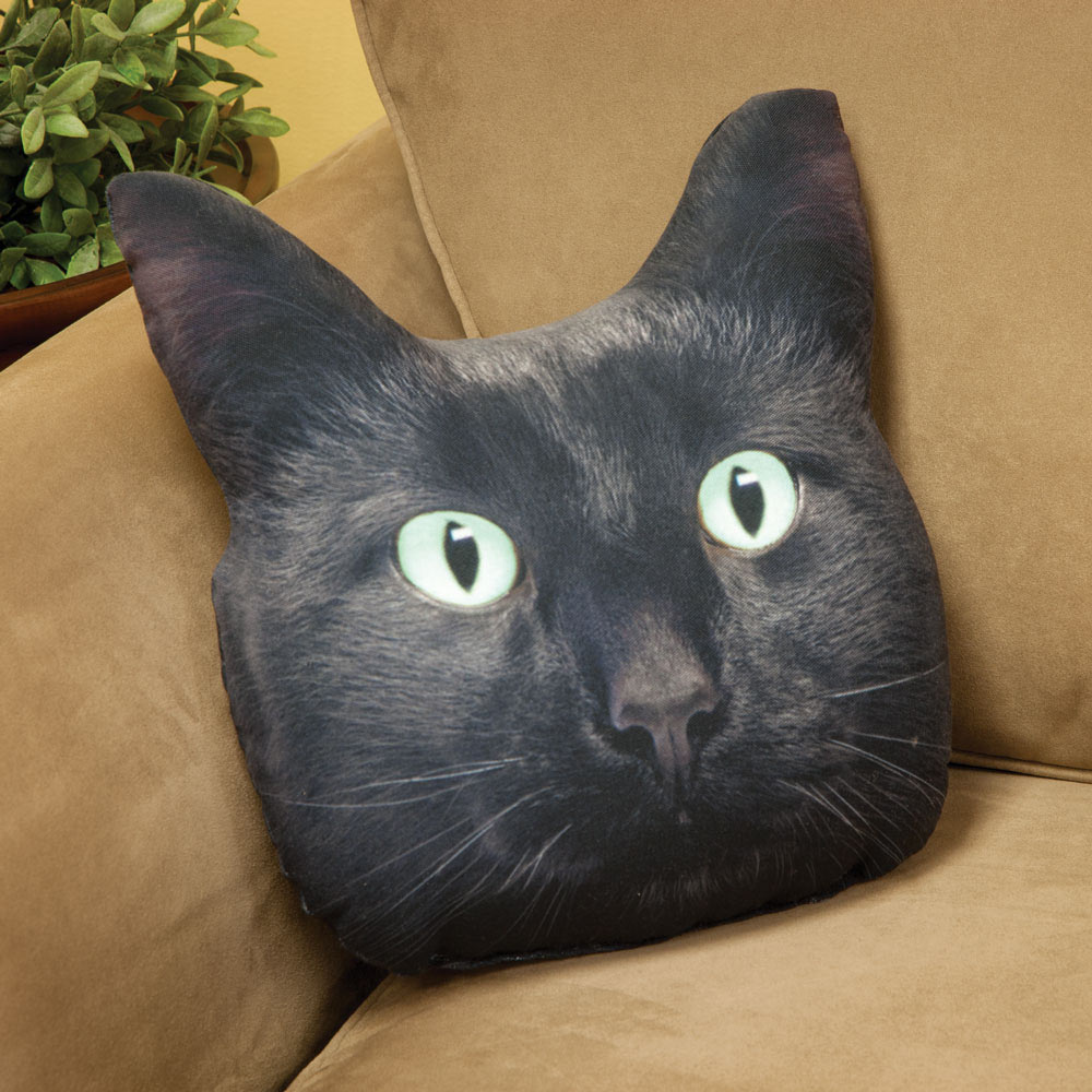 Black Cat Face Pillow Spilsbury