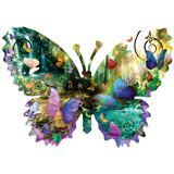 Forest Butterfly 1000 Piece Shaped Jigsaw Puzzle