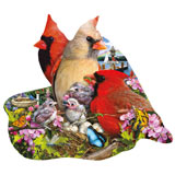 Spring Cardinals 800 Piece Shaped Jigsaw Puzzle