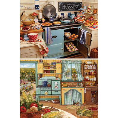 Set of 2: Cozy Kitchen 1000 Piece Jigsaw Puzzles