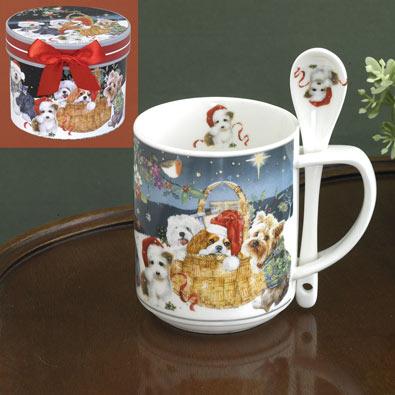 Christmas Puppies Mug & Spoon