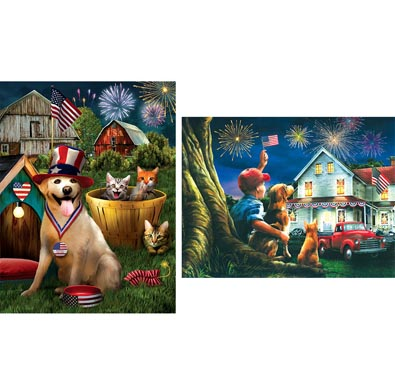 Set of 2:Tom Wood Patriotic Pets  300 Large Piece Jigsaw Puzzles