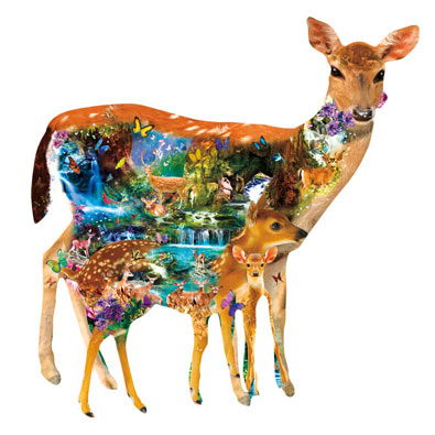 Mystical Forest Deer 1000 Piece Shaped Jigsaw Puzzle