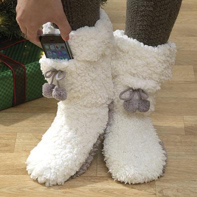 Slipper Socks with Pocket - Medium