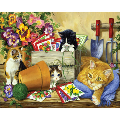 Little Bloomers, Cat and Kittens 1000 Piece Jigsaw Puzzle