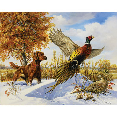 Irish Setter, Pheasants & Tree 1000 Piece Jigsaw Puzzle