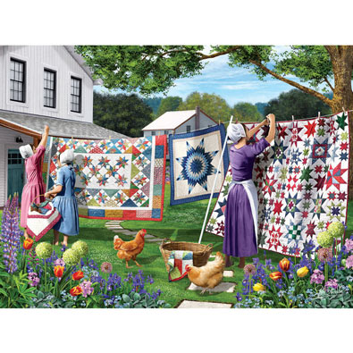 Quilts in the Backyard 500 Piece Jigsaw Puzzle