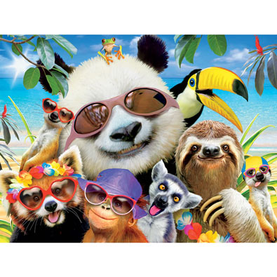 Beach Party Panda Selfie 550 Piece Jigsaw Puzzle