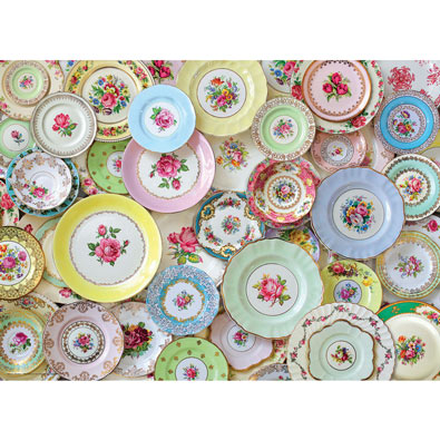 English Tea Plates 1000 Piece Jigsaw Puzzle