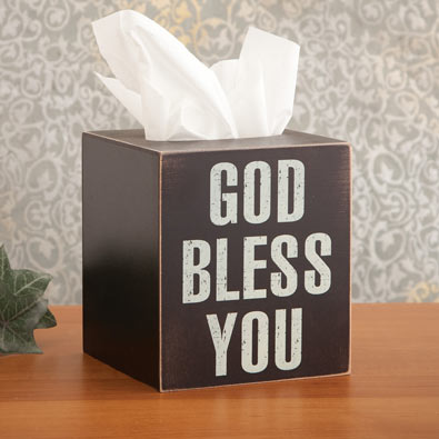 God Bless You Tissue Holder