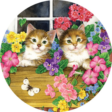 Whiskers at the Window 300 Large Piece Round Jigsaw Puzzle