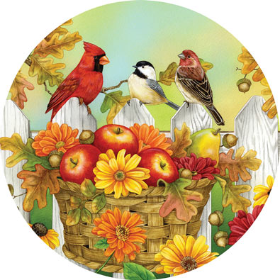 Apples and Acorns 300 Large Piece Round Jigsaw Puzzle