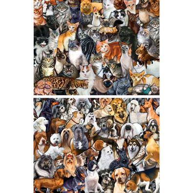 Set of 2: Pet 300 Large Piece Jigsaw Puzzles