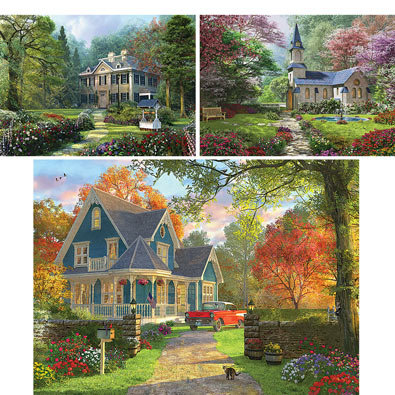 Set of 3: Dominic Davison 300 Large Piece Jigsaw Puzzles