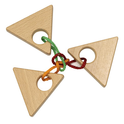 Power of Three Wooden String Puzzle