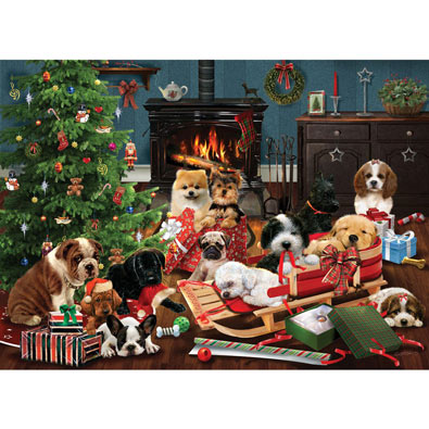 Christmas Puppies 500 Piece Jigsaw Puzzle