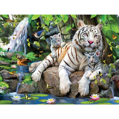 White Tigers of Bengal 300 Large Piece Jigsaw Puzzle