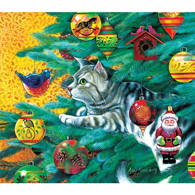Christmas Tree Cat 300 Large Piece Jigsaw Puzzle