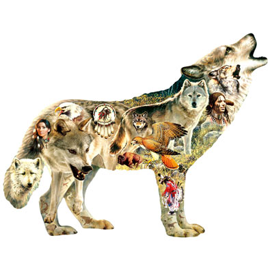 Native American Wolf Shaped Jigsaw 750 Piece Jigsaw Puzzle