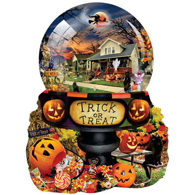 Halloween Globe 1000 Piece Shaped Jigsaw Puzzle