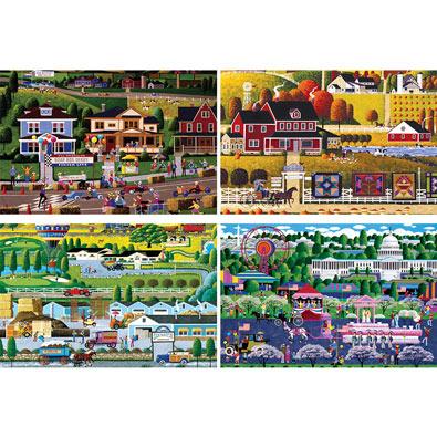 Set of 4 : Heronim Americana 300 Large Piece Jigsaw Puzzles