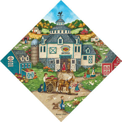 Bartlett's Apple Orchard 500 Piece Diamond Shaped Jigsaw Puzzle