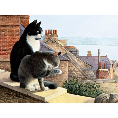 Chesterton & Twiglet on the Rooftop 300 Large Piece Jigsaw Puzzle