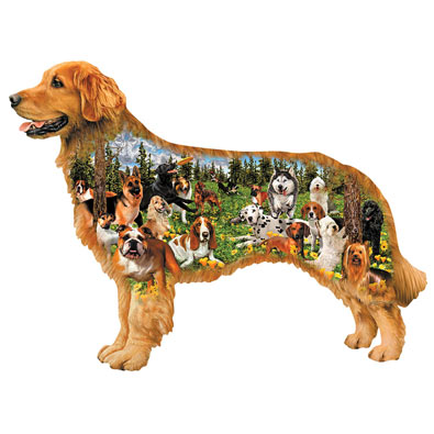 Dog Park 350 Piece Shaped Jigsaw Puzzle