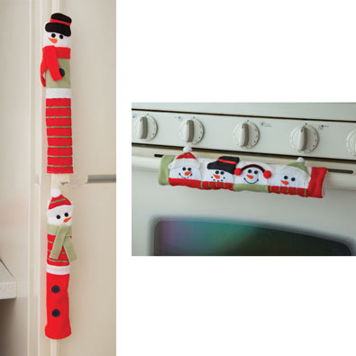 Snowman Appliance Handle Covers Set