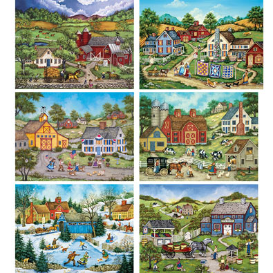 Set of 6: Bonnie White 300 Large Piece Jigsaw Puzzles