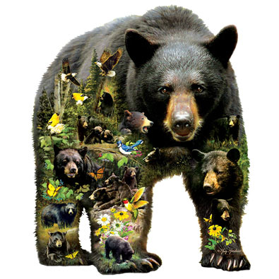 Forest Bear 1000 Piece Shaped Jigsaw Puzzle