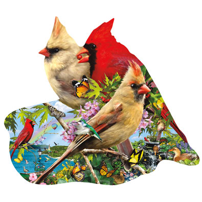 Summer Cardinals 800 Piece Shaped Jigsaw Puzzle