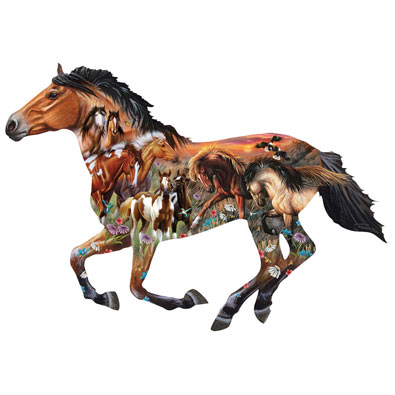 Pasture Sunset Horse 800 Piece Shaped Jigsaw Puzzle