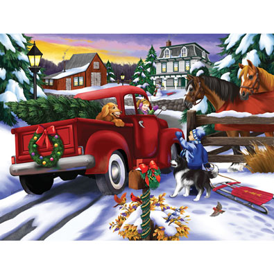 Bringing Home the Tree 300 Large Piece Jigsaw Puzzle