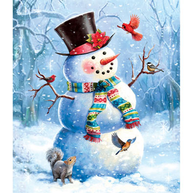 A Snowy Perch 300 Large Piece Jigsaw Puzzle