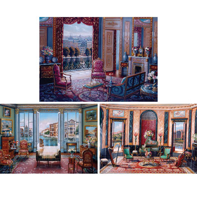 Set of 3: Elegant Interiors 1000 Piece Jigsaw Puzzles